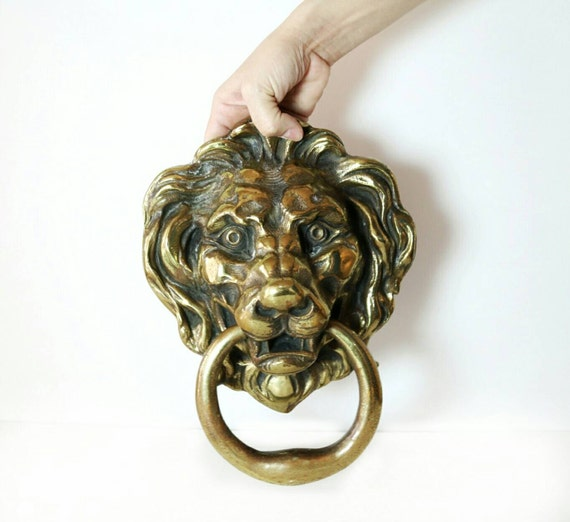 Lion head door knocker large vintage brass door knocker - Large lion head door knocker ...