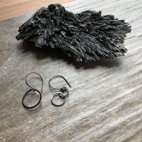 Orbital Drops in Recycled Sterling Silver & 14k