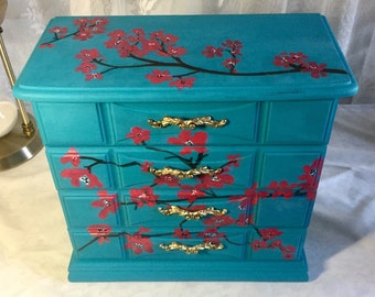 Large Jewelry Box, Vintage Jeweley Box, Jewelry  Storage, Wood Jewelry Box, Upcycled Jewelry Box, Hand Painted Cherry Blossoms
