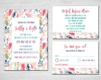 Watercolour Wedding invite, Colourful Modern Wedding Invite Watercolor