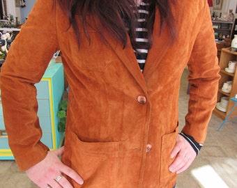Vintage Gassy Jack Orange Brown Suede Jacket Size M 11 to 12