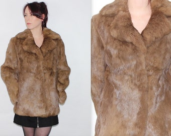 Vintage 1980's Brown Real Coney RABBIT FUR Soft Gorgeous WINTER Coat Jacket Size Small Medium