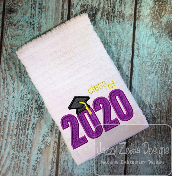 Class of 2020 Appliqué embroidery Design - graduation appliqué design - school appliqué design