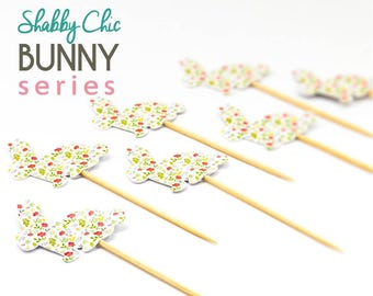 10 Handmade Shabby Chic Floral Bunny Rabbit Cake//Cupcake Toppers//Easter//Christening//Baby Shower//Birthday//Food Picks//Party Decoration