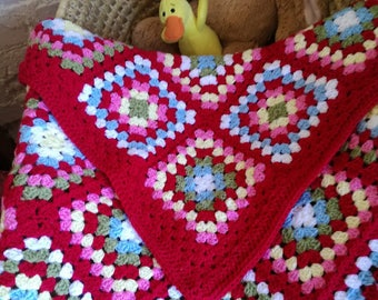 Handmade Baby Blanket, Granny Squares Baby Blanket in Cath Kidston colours ~  31 x 31