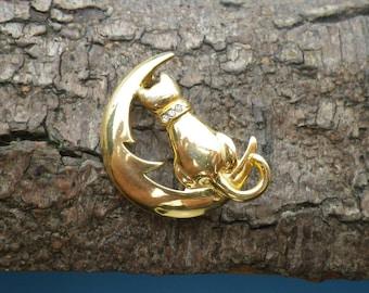 Vintage Gold Tone Cat Crescent Moon Rhinestone Brooch Pin