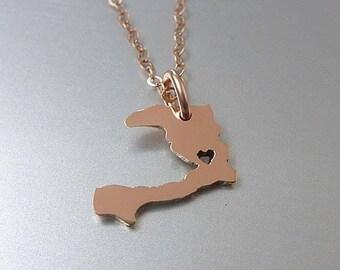 Tiny 14K Rose Gold Filled Haiti Necklace - Haiti Country Necklace - Custom Heart - Haiti Map Necklace - Love Haiti