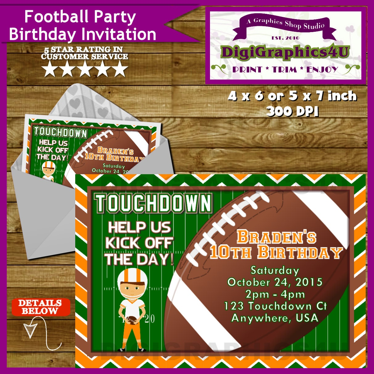 football sports birthday party invitation for kids pick your