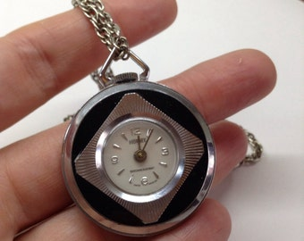 Norbee ,pendant watch ,chrome and black ,working