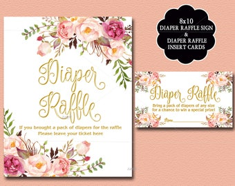 Gold Floral Baby Shower Diaper Raffle Insert Card & Sign, Peach Baby Shower Invitation insert - diaper raffle ticket, INSTANT DOWNLOAD 029