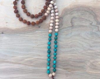 Turquoise, Rudraksha, Wood Mala