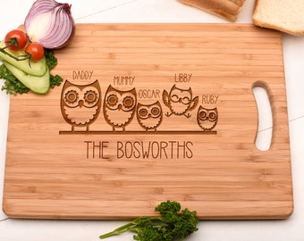 Personalised Family Chopping Board Cutting Board Christmas Gift.