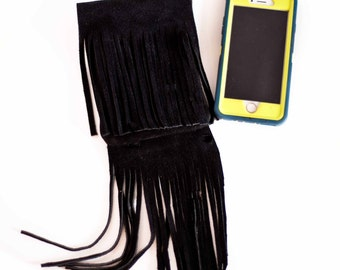 Leather Suede Cell Phone Belt Bag Carry-All Bag