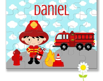 Personalized Firefighter Puzzle for Kids - Fireman Puzzle with Name - Fire Truck Custom Name Jigsaw - Boy Birthday Gift - Stocking Stuffer