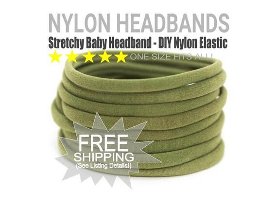 OLIVE Bulk Nylon Headbands / WHOLESALE Nylon Baby Headband / Wholesale Spandex Headband / Skinny Very Stretchy One Size Fits most Nylon