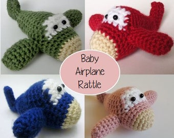 Baby Airplane Rattle, Airplane Toy, Baby Present, Baby Toy, Amigurumi Airplane, Baby Amigurumi Airplane Toy, Baby Rattle, Green, Red