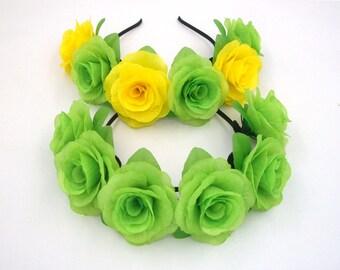 Green Flower Crown,Green Rose Headband,Green Flower Headband,Green Rose Crown,Girls Women Adult Floral Headband,Silk Rose,Festival Headband,