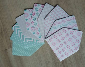 Set of 10 Mini enveloppes with notecards, Easy Breezy