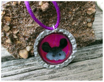 Chinchilla bottlecap necklace, cute chinchilla pendant, chinchilla jewelry, bottlecap jewelry, chinchilla pendant
