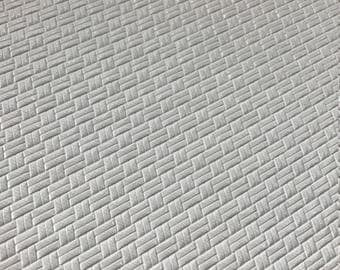 White Weave Design Leatherette 1.1mm thickness White Faux Leatherette PU Leather Fabric