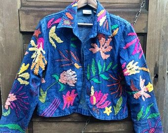 Vintage 90's Embroidered Floral Cropped Denim Jacket by Chico's Design size medium