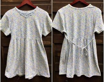 Vintage 80's/90's Floral Print Babydoll Mini Dress with Appliqué size medium