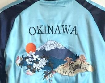 Reversible embroidered okinawa Bomber Jacket sukajan jacket asian Japanese satin tiger patched Jacket varsity track chinese embroidery