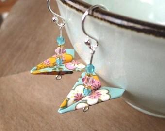 Origami Plane Earrings, Colorful Paper Airplane Dangle Earrings, Whimsical Earrings, Fun Earrings, Teen Earrings