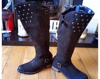 Vintage Leather Riding Boots, Knee High Boots, Studded Boots