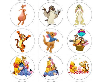 15 x Winnie the Pooh Cupcake toppers wafer paper/icing sheet cake decorations