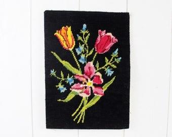 French Cross Stitch, Finished Cross Stitch, Vintage Cross Stitch, Tulip Cross Stitch Wall Art, Floral Cross Stitch Art, Cross Stitch Decor