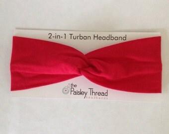 Red Stretchy Cotton Turban Headband
