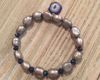 Lavender iridescent fresh water pearls & faceted black ethiopian opal beads petite geode solar agate charm