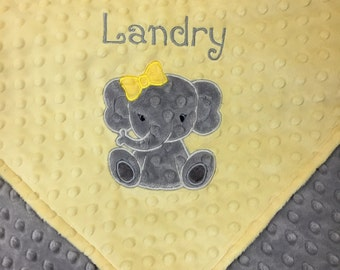 Personalized Minky Baby Blanket, Gray and Yellow Minky, Elephant Blanket, Monogrammed Blanket