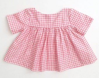 Empire blouse in pink gingham