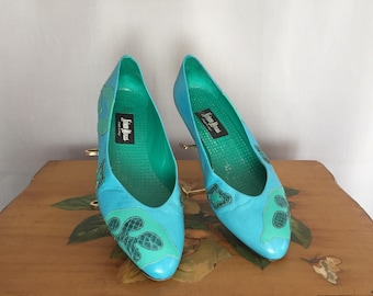 Blue Leather Shoes Vintage Neiman Marcus Made in Italy Green Seamfoam Turquoise Teal Reptile Pumps size 37 1/2