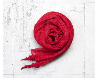 Linen scarf. Red linen scarf. Linen shawl. Linen wrap.Pure linen scarf. Natural scarf. Summer scarf. Gift for her. Long scarf. Flax scarf