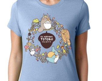 CUSTOM My Neighbor Totoro T-shirt ~ Studio Ghibli ~ Baby Blue ~ American Apparel