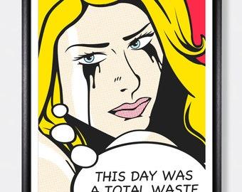 Makeup Girl Poster Print Pop Art 50s Comic Style Art Design Picture Retro Wall Artist