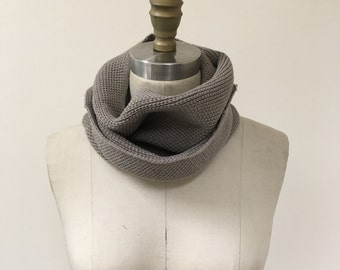 Brown Knitted Textured Infinity Scarf