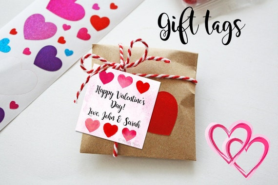 Watercolor Hearts Valentine Cards - Printable - Valentine's Tags - Watercolor Hearts - Gift Tags - Dots