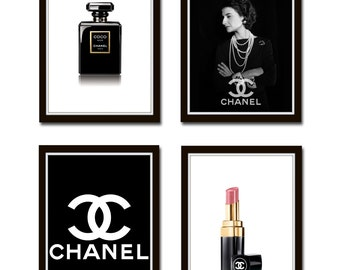 Set of 4 Prints, Coco Chanel, Chanel Bottle, Coco Chanel, Chanel Red lipstick art print, Chanel Fashion Print Fashion Wall Art *7*