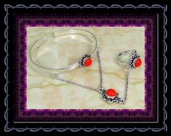 CLEARANCE...!!! Red Coral Stylized Slave Bracelet