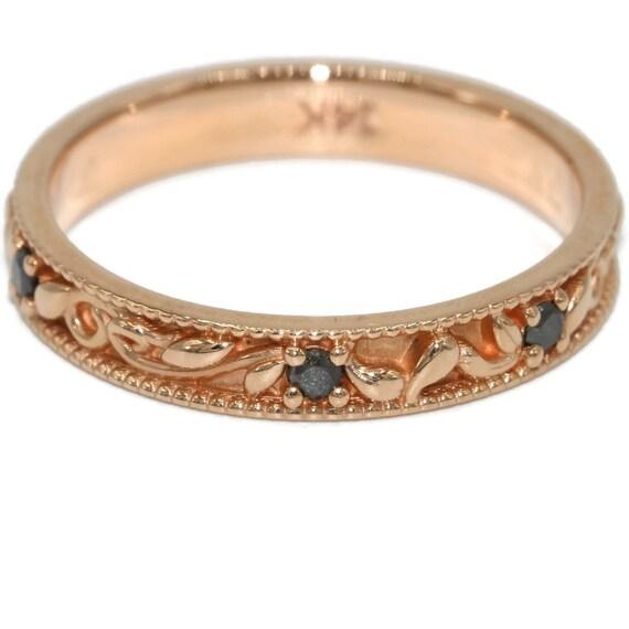 Paisley Wedding Band Rose Gold Wedding Rings Black By
