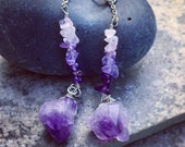 AMETHYST SKY // Natural Chunky Amethyst Crystals with Amethyst and Rose Quartz Chip Beads on Sterling Silver 925 Ear Wires // Long Boho Earr