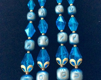 Deauville Double-Strand Necklace Beautiful Ocean Blue Color With Light Blue Rhinestones And Gold Tones