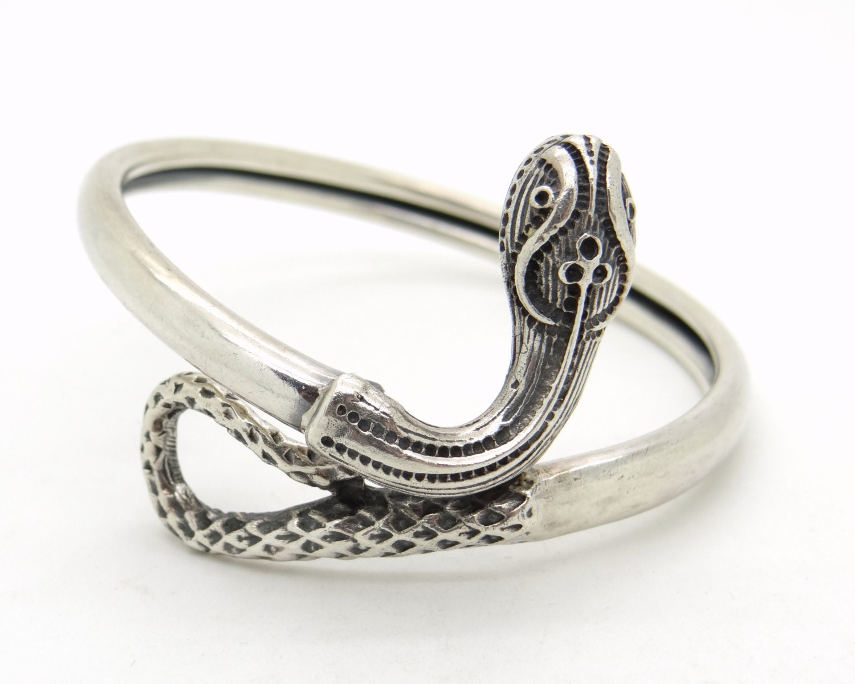 Snake Bracelet Antique Sterling Silver Cuff Bracelet