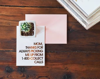1-800-collect Mother's day card | gold foil