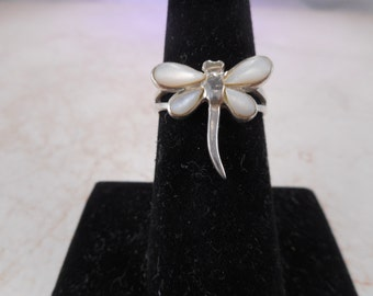 Vintage Sterling Silver DragonFly Ring Mother of Pearl Inlay Size 6 1/2