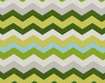 Green Yellow Grey and Blue Chevron Flame Stitch Indoor Outdoor Upholstery Fabric By The Yard | Pattern # A208